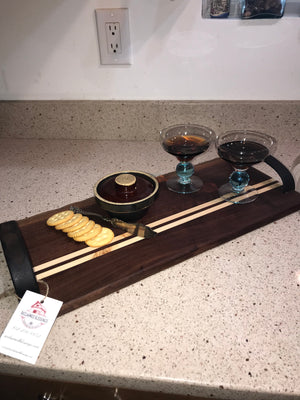 Charcuterie Serving Board Cheese Board Leather Handles Walnut with Pine Inlay