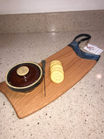 Charcuterie Serving Board Cheese Board Oak with Blue Black Silver Epoxy Resin Handle