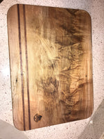 Charcuterie Serving Cheese Bread Board Live Edge Maple Walnut Inlay