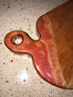 Charcuterie Serving Board Cheese Board Cherry with Red Copper Epoxy Resin Handle