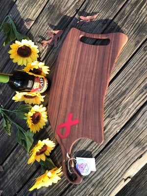 Charcuterie Serving Board Cheese Board Walnut with Purple or Pink Ribbon Epoxy Resin