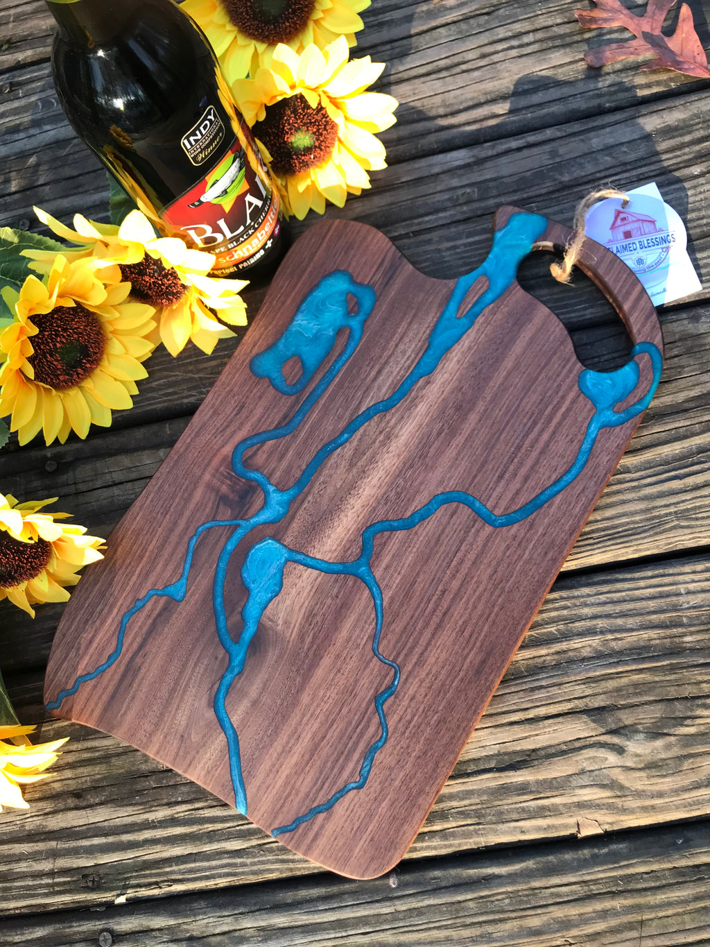 Charcuterie Serving Board Cheese Board Walnut with Blue Epoxy Resin River