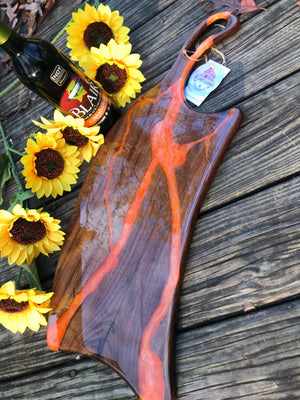 Charcuterie Serving Board Cheese Board Walnut with Orange White Epoxy Resin River
