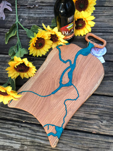 Charcuterie Cheese Board Serving Board Epoxy Resin Blue River Oak