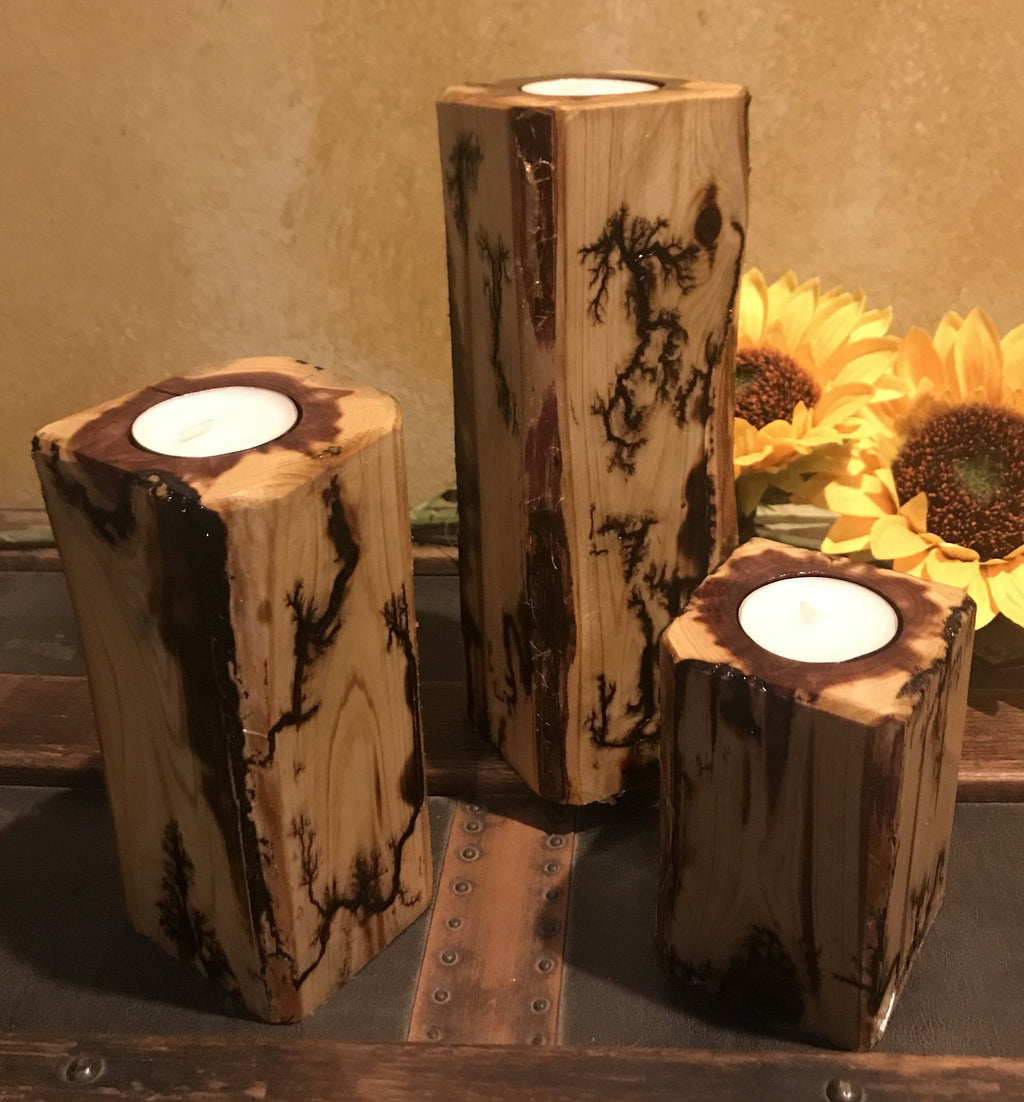 Rustic Natural Cedar Log Squared Candle Holder Set Fractural Burning