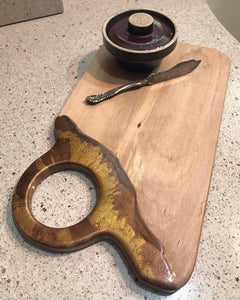 Charcuterie Serving Board Cheese Board Oak with Copper Brown Epoxy Resin Large Hole Handle