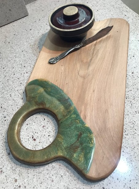 Charcuterie Serving Board Cheese Board Oak with Green Copper Brown Epoxy Resin Large Hole Handle