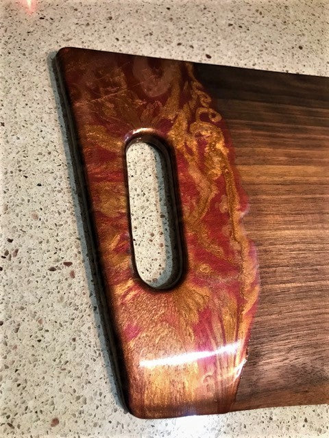 Charcuterie Serving Board Cheese Board Walnut with Red Copper Epoxy Resin Handles