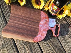 Charcuterie Cheese Board Serving Board Epoxy Resin Red Copper Handle