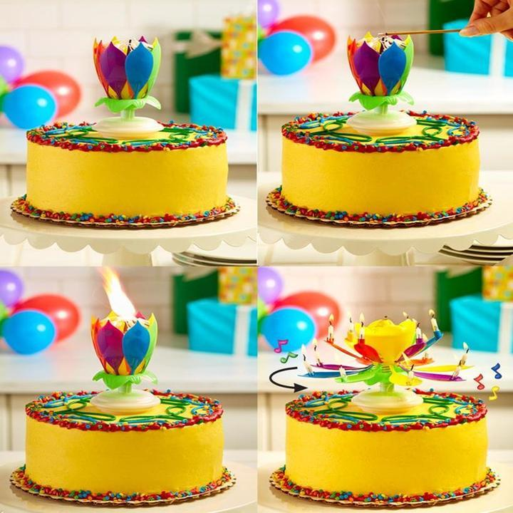 Multicolor Rotating Lotus Cake Candle