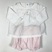 Laranjinha white blouse and pink corduroy bloomer one-piece 3M