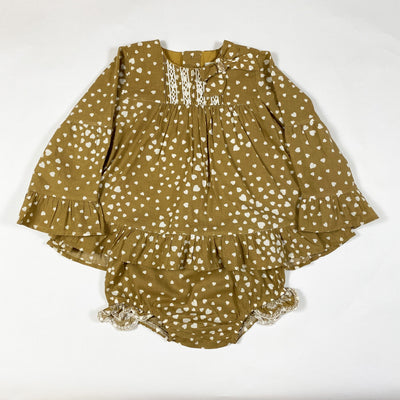 Pili Carrera soft brown heart print tunic and bloomer set 2Y