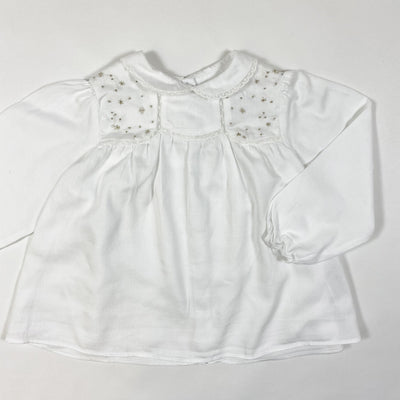 Tartine et Chocolat white long-sleeved blouse with golden embroidery 2Y