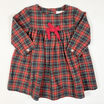 Laranjinha red plaid long-sleeved dress 2Y