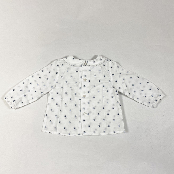 Zara white long-sleeved blouse with peter pan collar and boat print 6-9M/74