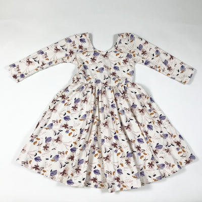 Alice + Ames ecru floral print long-sleeved dress with low-scooped back 4T