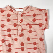 l'Asticot pink short-sleeved romper with red pattern 6M