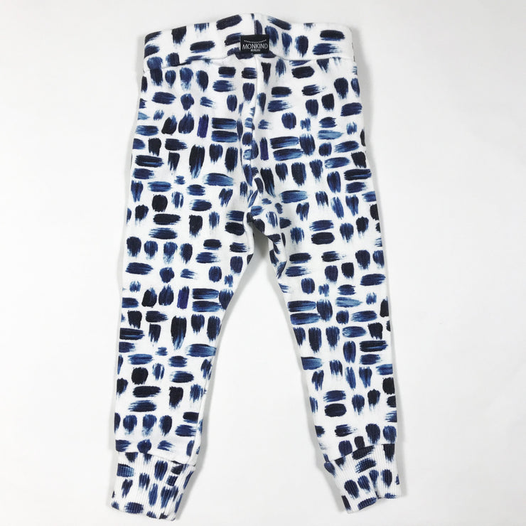 Monkind white sweatpants with blue brushstrokes 1-2Y