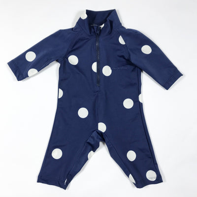 Mini Rodini blue rashguard with white polka dots 56-62