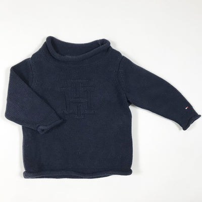 Tommy Hilfiger navy cotton knit pullover 6-9M