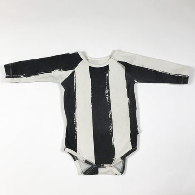 Noé & Zoë black/ecru bold stripe long-sleeved body 3-6M