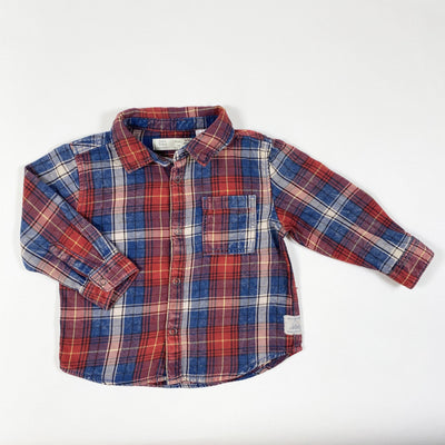 Zara blue/red plaid shirt 9-12M/80