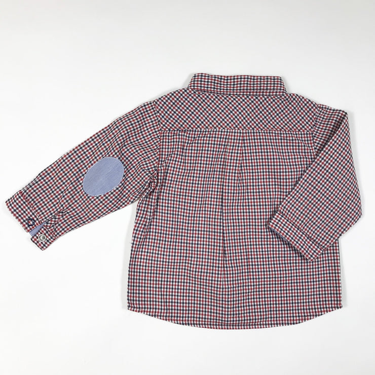 Petit Bateau red gingham shirt with elbow pads 12M/74