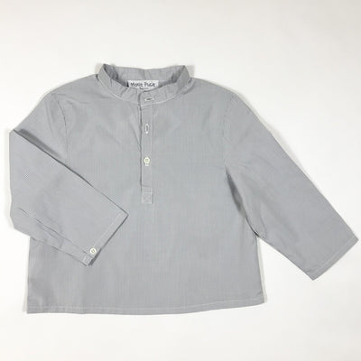 Marie Puce Paris soft grey gingham grandpa collar shirt 18M