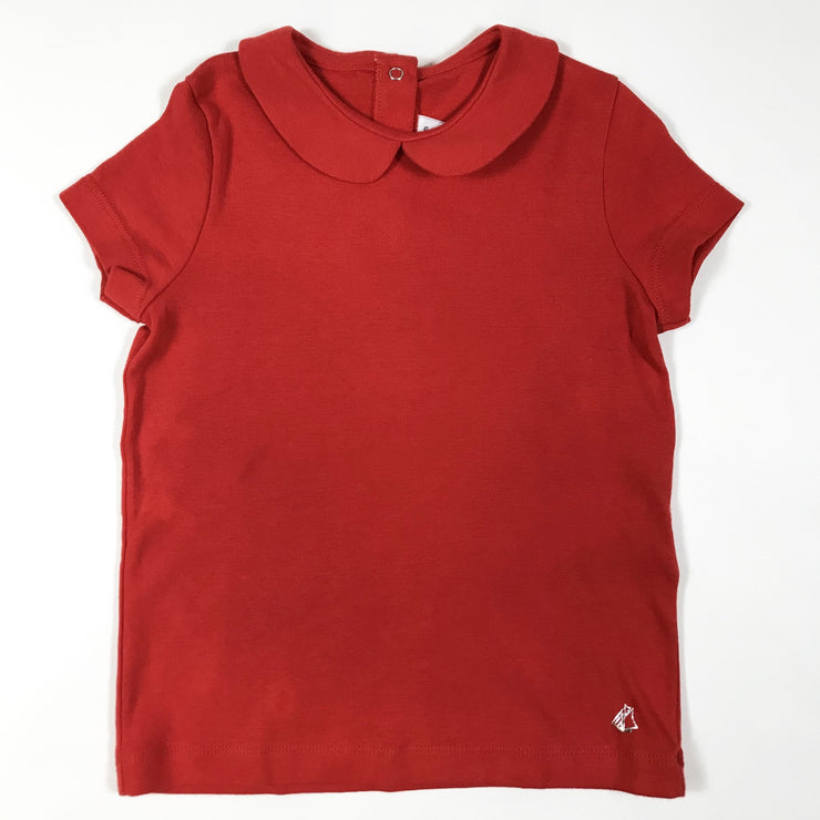 Petit Bateau bright red short-sleeved blouse with peter pan collar 6A/116