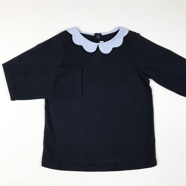 Jacadi navy long-sleeved t-shirt with scalloped collar 6A/116