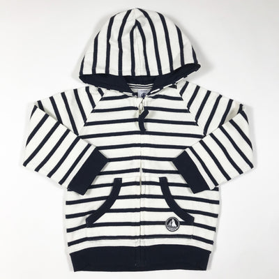 Petit Bateau white and blue striped hoodie 12M/74