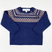Tartine et Chocolat blue jacquard knit cashmere pullover 1A