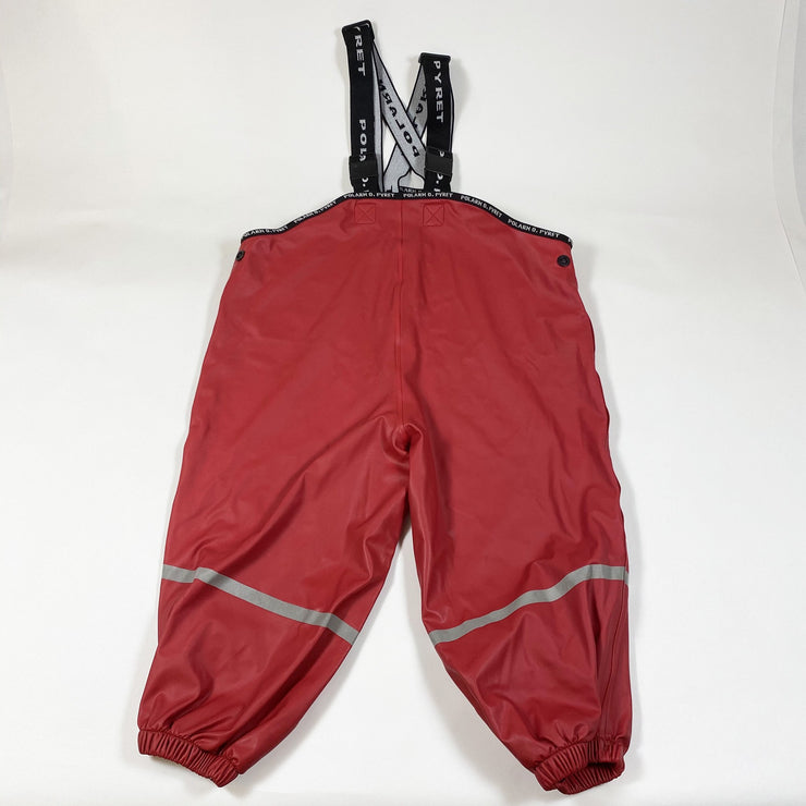 Polarn O. Pyret red rain trousers with suspenders and reflective stripes 1-2Y/86-92