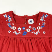 Petit Bateau red short-sleeved cotton dress with embroidered flowers 8Y/128