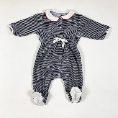 Petit Bateau striped soft velvet pyjamas with embroidered collar 3M/60