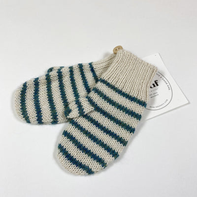 Oeuf NYC green striped knit mittens Second Season 0/6M