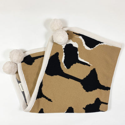 Wolf + Rita beige Drops baby blanket with pompons Second Season 75x75cm