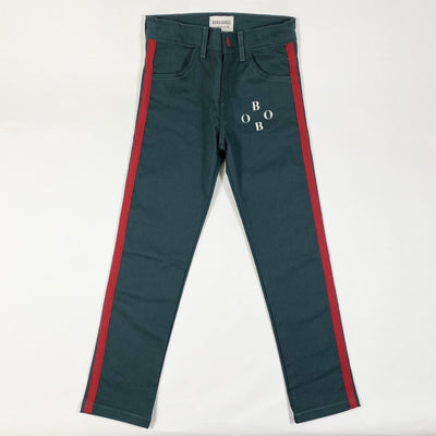 Bobo Choses green jeans with red stripe Second Season 6-7Y