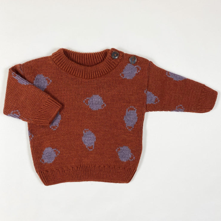 Bobo Choses estate blue small saturn jacquard jumper Second Season 3-6M