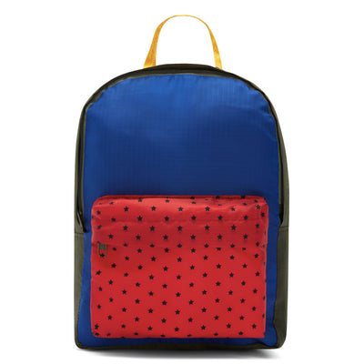 Bonton khaki/blue/red nylon patch backpack Second Season