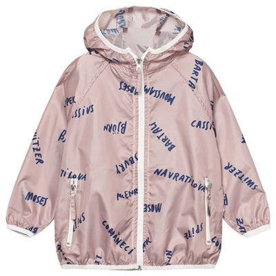 Bobo Choses off-rose A Legend print waterproof windbreaker jacket with hood Second Season 2-3Y