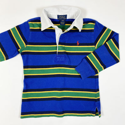Ralph Lauren green/yellow/blue long-sleeved rugby shirt 3Y