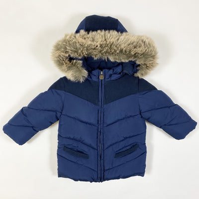 Jacadi navy hooded winter jacket with faux fur and suede detailing 1Y