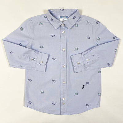 Jacadi light blue fish print shirt 4Y