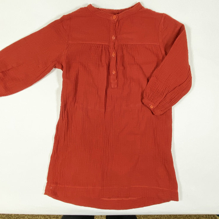 Long Live the Queen red muslin long-sleeved dress with tie 8Y (fits 4-5Y)