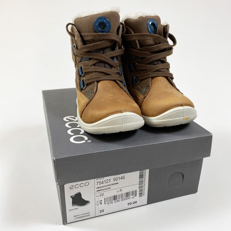 Ecco amber/cocoa brown lace-up gore-tex snow boots 22