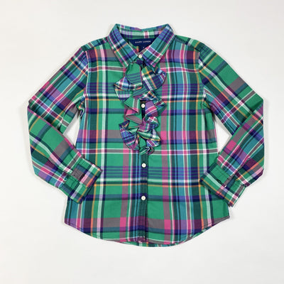 Ralph Lauren bright green collared plaid ruffle blouse 6Y