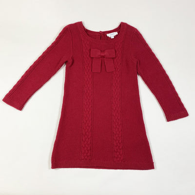 Jacadi red cashmere wool blend knit dress 36M/96cm
