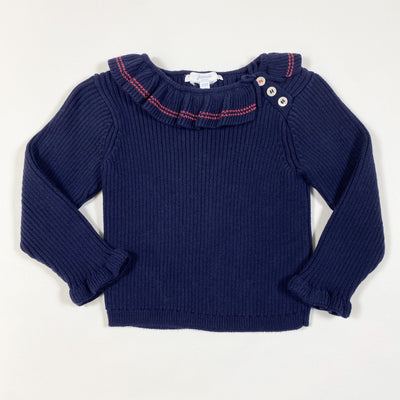 Jacadi blue ribbed knit sweater with collar 12M/74cm