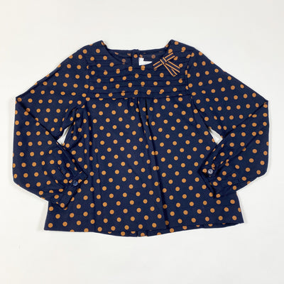 Jacadi navy/brown polka dot blouse with bow 4Y/104cm